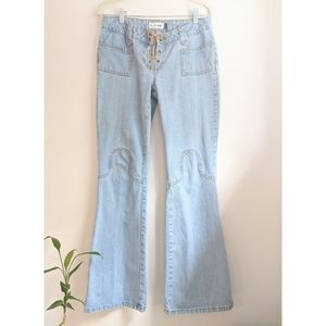 Early 2000s Low Rise Light Wash Boot Cut Jeans